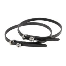 HH BLACK LEATHER SPUR STRAPS - CRYSTAL CROWN